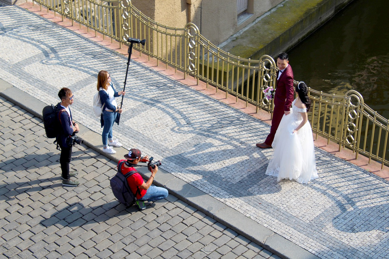 Sydney wedding photographer and his team taking prenup photos