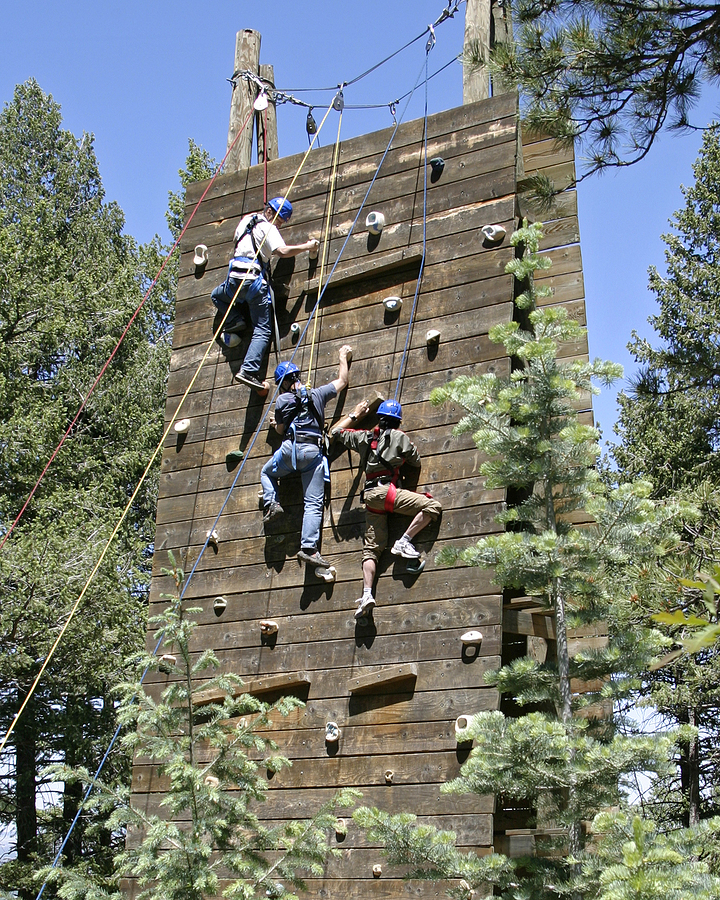 Employees wall climbing as part of the corporate team building activities
